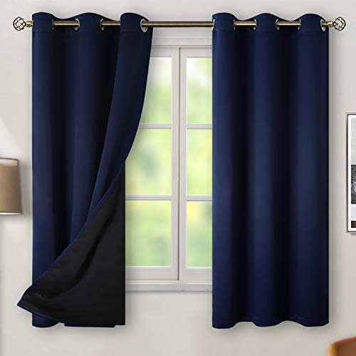 BGment Thermal Insulated 100% Blackout Curtains for Bedroom with Black Liner, Double Layer Full Room Darkening Noise Reducing Grommet Curtain ( 42 x 63 Inch, Navy Blue, 2 Panels )
