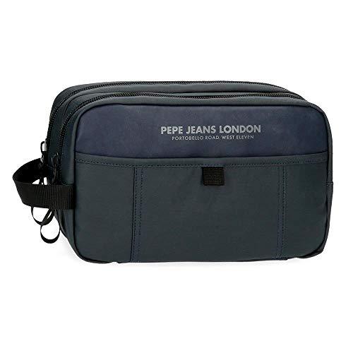 Pepe Jeans Factory Neceser Dos Compartimentos Adaptable Azul 26x16x12 cms Poliéster y PU