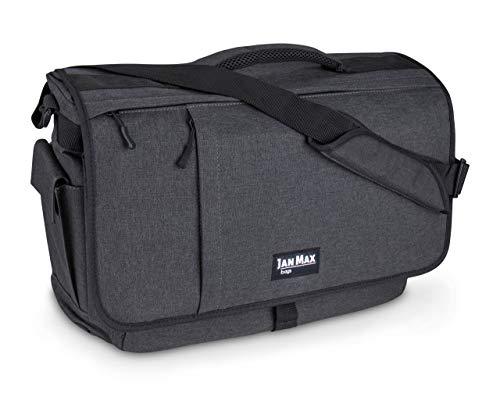 Jan Max Arbeitstasche für Herren, Laptop Messenger Bag mit Laptopfach, Laptoptasche 17 3 Zoll Bürotasche dunkel Grau/Schwarz