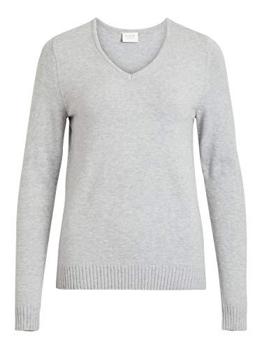 Vila Female Strickpullover V-Ausschnitt- MLight Grey Melange