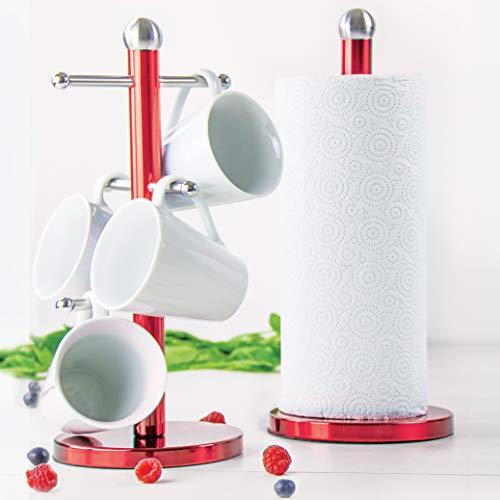 Set de soporte Arbol de Rollo de Cocina Tazas Metalica Rojo Rubi