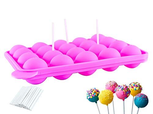 ETHEL Stampi per Cake Pop, Stampi Pop per Caramelle, 20 Stampo Lecca Lecca Silicone, Set di Cake Pops, Silicone Lollipop Mold, Ideale per Caramelle, Lecca-Lecca, Cake Pop e Cupcake- Rosa