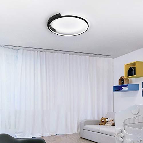 MGWA Luz de Techo Moderna Lámpara De LED Ronda Anillo Negro De Techo Regulable De Luz con Control Remoto Dormitorio Oficina De Control De La Sala De Estar (Color : White Light)