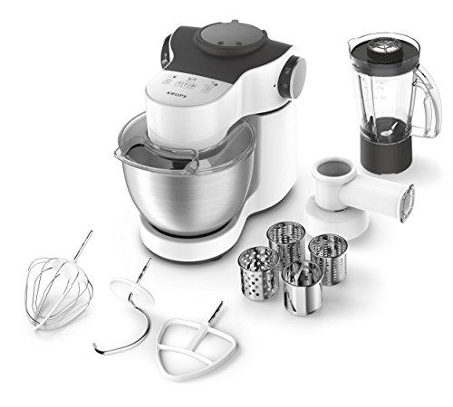 Krups KA2531 Küchenmaschine Master Perfect Plus, 4 L, 700 W, inklusive Schnitzelwerk und Mixer, edelstahl/weiß