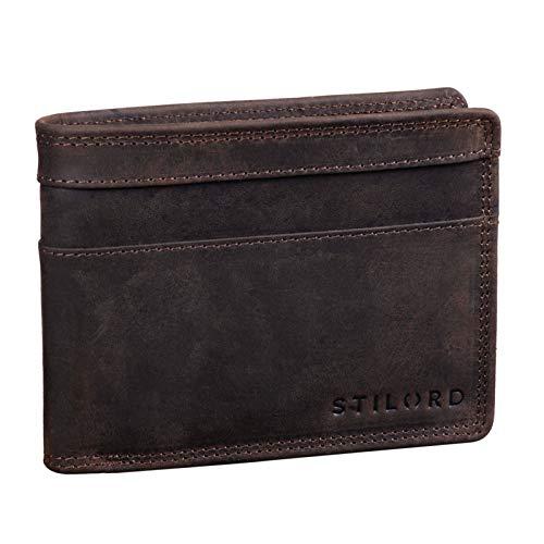 STILORD 'Cooper' Portamonedas de Cuero para Hombre RFID y NFC Bloqueo Monedero Clásico Portamonedas Billetera Portatarjetas de Piel Genuino, Color:marrón Oscuro