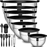 Stainless Steel Mixing Bowls with Airtight Lids, Fungun 20 PCS Metal Mixing Bowl Set, Size...