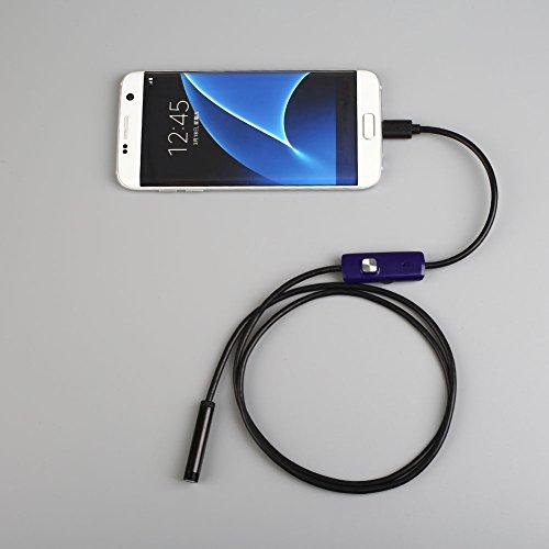 Cewaal 1.3MP USBendoscope, 7mm Objektiv wasserdichte HD-Schlange-Kamera mit 6 LED und 1 M Kabel für Android PC