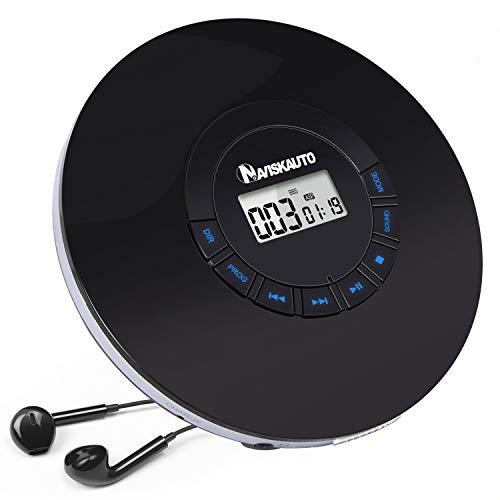 NAVISKAUTO CD Player Tragbar 2000mAh Akku.Discman CD-Walkman LED Hintergrundbeleuchtung mit Kopfhörer Skip Schutz CD/MP3/WMA/CD-R/ CD-RW