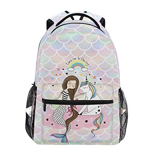 Mochila de viaje con diseño de unicornio, color rosa con diseño de sirena, para estudiantes, niños y niñas, mochila para portátil