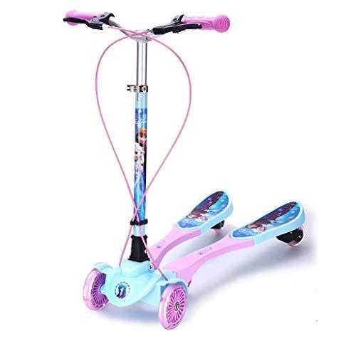 Ligero Scooters de Breaststroke for Kids, Scooter Deluxe Kick Scooter Altura Ajustable de 4 Ruedas, LED Light Ruedas, Los Mejores Regalos para niñas Conducción Suave (Color : Purple)
