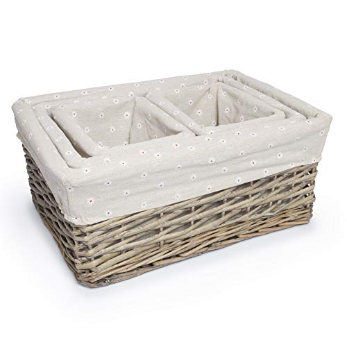 woodluv Rustic Set of 4 Willow Gift Hamper Shelf Storage Basket, Daisy Printed Lining