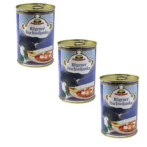 3er Pack Rügen-Krone Rügener Fischsoljanka (3 x 400 ml) Dosenfisch, Fischbüchse, Soljanka in der Dose