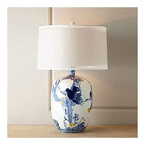 WNN-URG Lámpara de la Mesa de la Mesa de la Mesa de la lámpara de la Mesa de cerámica de la Placa de cerámica de la alfarería Blanca, Cubierta de lámpara de Tambor de Lino Hecho a Mano 62 * 37 URG