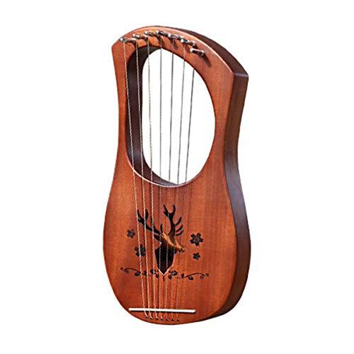 Greatangle-UK Tragbare Größe Naturholz 7 Saiten Lyre Harp Musical Saiteninstrumente für Anfänger Anfänger Geschenk Vintage Holz Rentier
