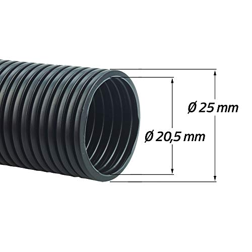Goodymax® PP Wellrohr Kabel Marder Schutz Rohr / 1 oder 10 Meter/geschlitzt oder ungeschlitzt [Ø 20,5 mm innen / 25,0 mm außen - UNGESCHLITZT 1 Meter]