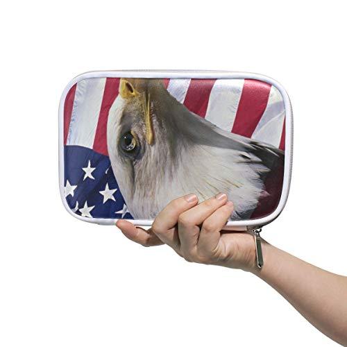 Federmäppchen mit amerikanischer Flagge, Adler, Vogel und Reißverschluss, großes Fassungsvermögen, für Make-up und Pinsel