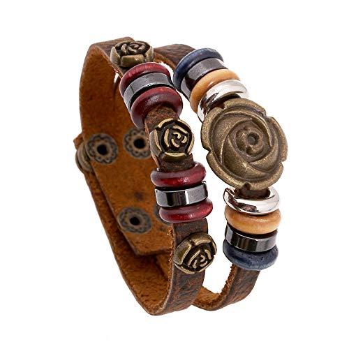 THTHT punk lederen armband verstelbaar voor mannen en vrouwen dubbele studs roze handgeweven eenvoudige mode retro cool creatief cadeau gothic populaire armband