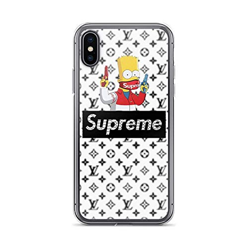 Crazy Caa Compatible with iPhone X/XS Case Bart Simpsons Gun and Face Mask Pure Clear Phone Cases Cover