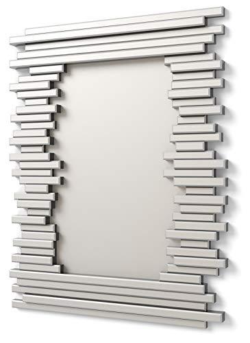 DEKOARTE E033 - Specchio Moderno da Parete Decorativo Effetto 3D in Cornice con vetri su Piani distinti e Luna Centrale Grande 90x70 cm