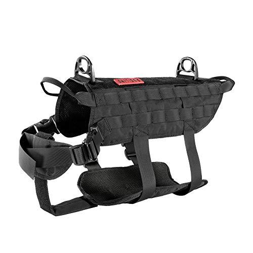 OneTigris Power Rocket K9 Taktische Hundeweste Hunde Harness MOLLE Verstellbar Hundegeschirr für Service Hunde Haustier Hund |MEHRWEG Verpackung (M, Schwarz)