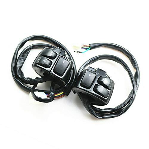 Interruptor de control de manillar de 25 mm + arnés de cable para Harley Softail Dyna Sportster V Rod 883 1200 Cruiser Chopper Custom (negro)