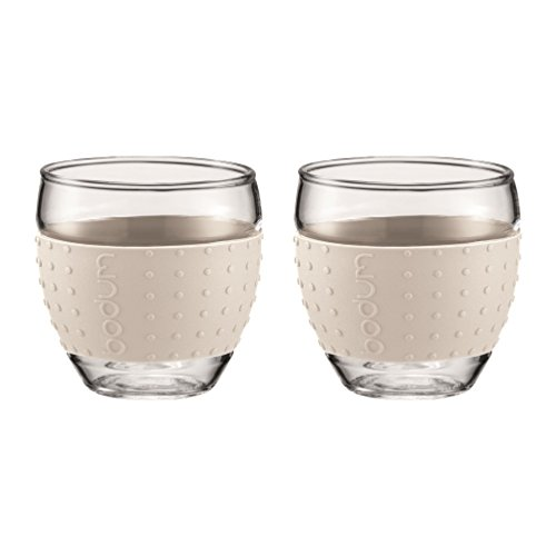 Bodum PAVINA 2-teiliges Gläser-Set (Rutschfester, farbiger Silikonring, 0,35 liters) cremefarben