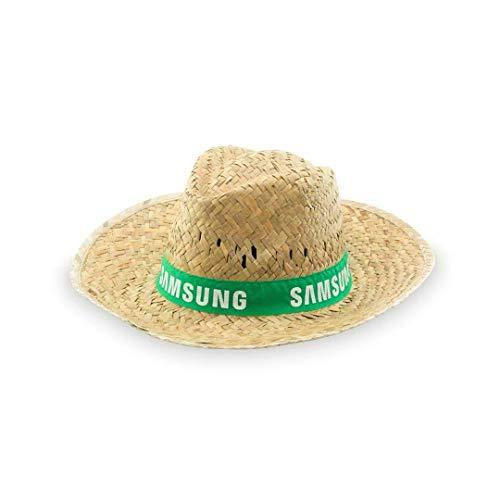Pack de 10 Sombrero de paja personalizados - Sombrero de paja verde con cinta personalizada para fiestas, eventos deportivos y culturales, romerías.