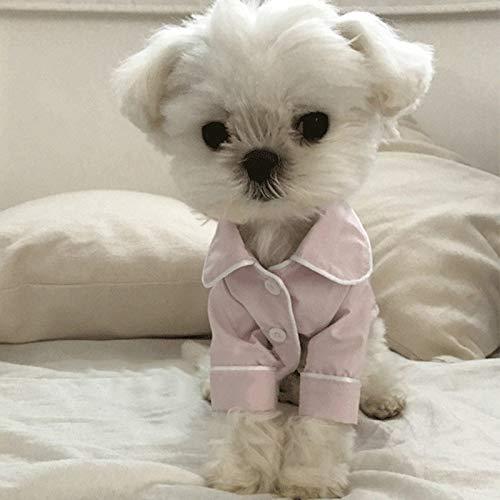 YangJinShan Puppy Overall Pyjamas Overalls weicher Baumwolle Jumpsuit Puppy Puppy Nette Simulierte Silk Pyjamas Outfit Haustier-Katze-Welpen, Größe: L (Color : White)