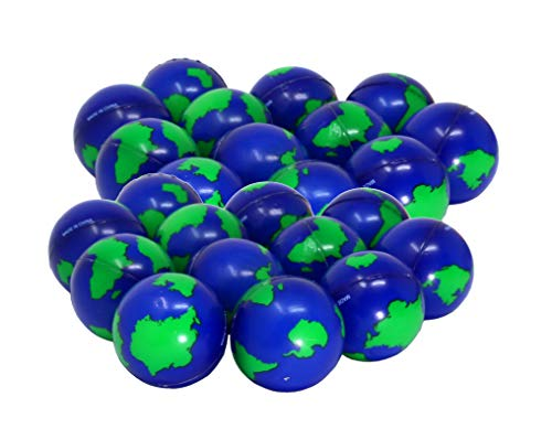 SN Incorp. Earth Stress Balls 2 Inch Globe Designed Stress Relief Toy for All Ages - Bulk Pack of 24 World Stress Balls