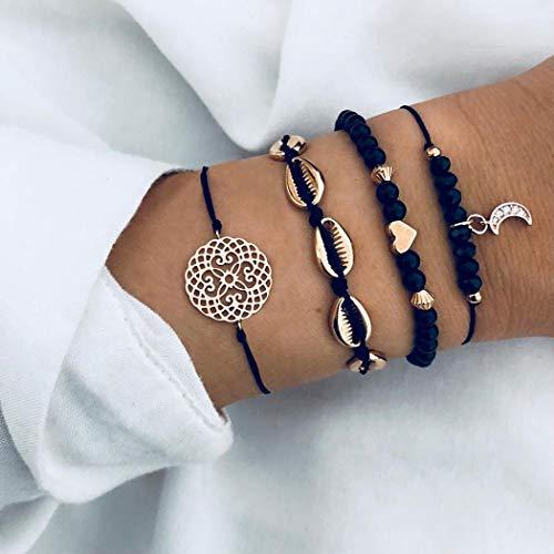 Edary Juego de pulseras de conchas tejidas con cristales negros, diseño de luna y corazón, hecho a mano, cadena de mano para mujeres y niñas (4 unidades)