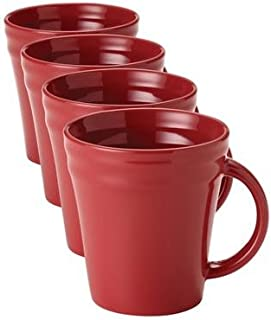 Rachael Ray Dinnerware Double Ridge Mug Set, 4-Piece, Red