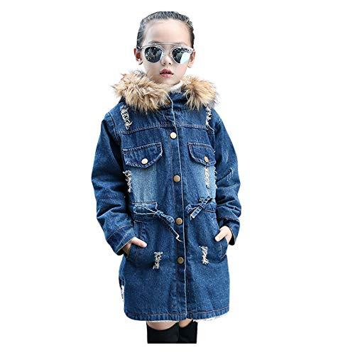 HWTOP Kapuzenjacke Kleinkind Jeansjacke Baby Mädchen Dicke Wollkragen Warmgürtel Denim Mantel Jacke Outwear mit Kapuzen Tasche Kunstpelzkragen, Blau, 11-12 Jahre