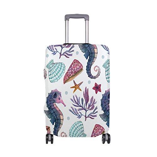 Copertura per valigia acquerello cavalluccio marino, super leggera, adatta per bagagli da 46 a 32 pollici