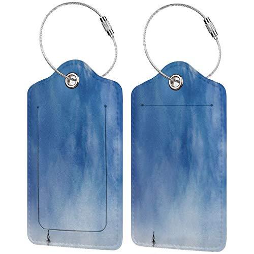 FULIYA Etiquetas para equipaje de viaje, para tarjetas de visita, juego de 2, ciclista, minimalismo, cielo, arte, nubes