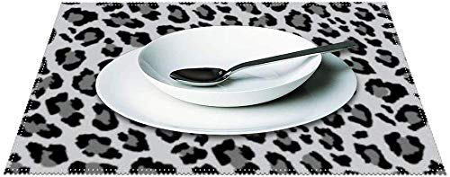 Placemats Set of 4, Leopard Spots Gray and Black Animal Print Pattern Canvas Table Mats Washable Fabric Placemats for Kitchen Dining Table Decoration 12 X 18 Inches-Leopa20-4