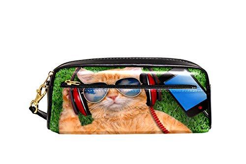 Auriculares de gato con gafas de sol relajantes en la hierba estuche de cuero de la PU papelería bolsa de la escuela caja de lápiz de las mujeres bolsa de cosméticos