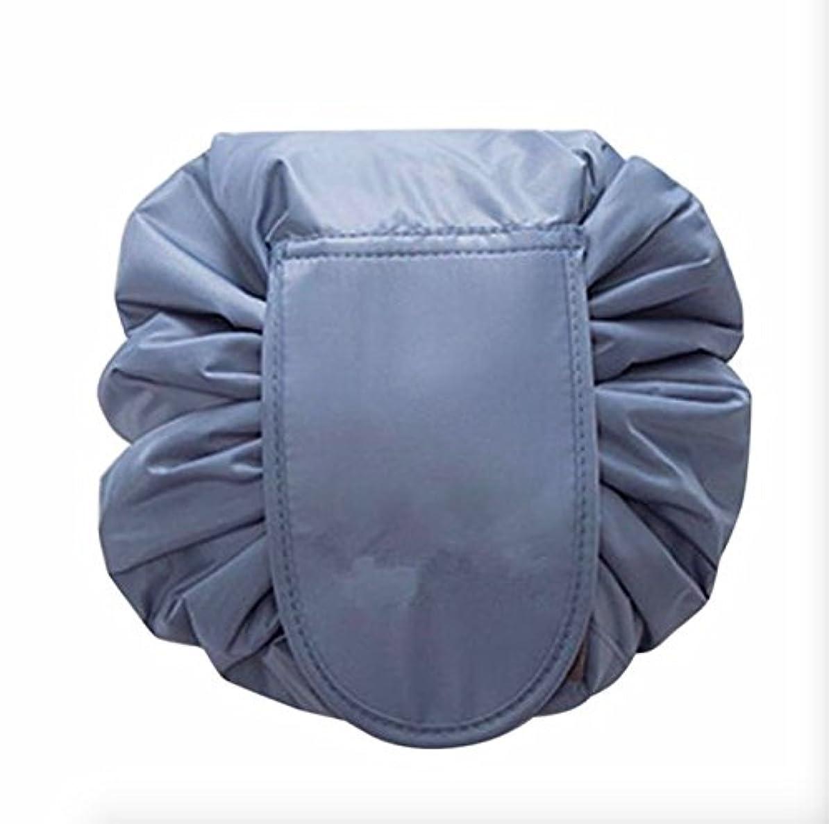 大容量 防水化粧品収納バッグ 折り畳み 外泊 出張 持ち運び旅行収納 (ブルー)