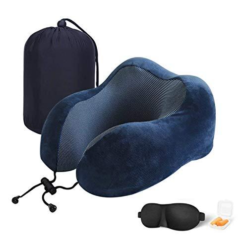 MSNLY Almohada en Forma de U Almohada de Viaje de Negocios Almohada con Memoria en Forma de U Almohada con Memoria de Rebote Lento Protección para el Cuello Espuma de Memoria Espacial (Azul)