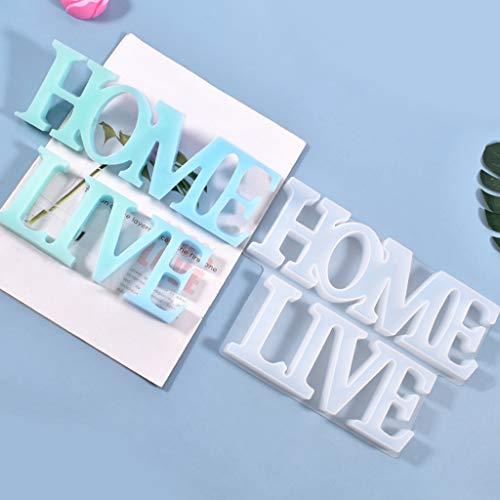 """AIUII - Molde de silicona de resina epoxi con texto en inglés """"Live Home Listed"""", colgante de silicona"""