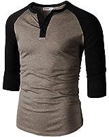 H2H Mens Casual Slim Fit Raglan Baseball Three-Quarter Sleeve Henley T-Shirts HEATHERBROWN US 2XL/Asia 3XL (CMTTS0229)