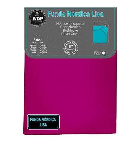 ADP Home - Funda nórdica Lisa, Calidad 144Hilos, 17 Hermosos Colores, Cama de 150 cm - Color: Fucsia