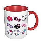 Tazza divertente Hello Kitty, tazze di ceramica per ufficio e casa, rosso