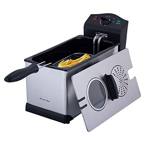 3L Fritteuse Elektro Fritöse Frittierkorb Friteuse Pommes Kaltzonenfritteuse Anti-Geruchsfilter Spritzschutz Edelstahl Temperaturregelung bis 190 °