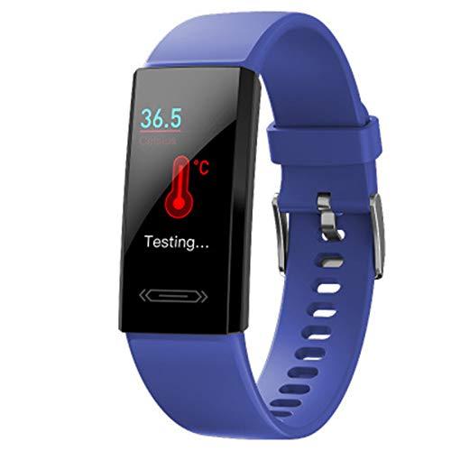 ZGLXZ Deportes Smart Pulsera Temperatura Tarifa Cardíaca Monitoreo del Sueño Monitoreo IP68 Pedómetro De Reloj A Prueba De Agua Pulsera Inteligente Pulsera V100S para Android iOS,B