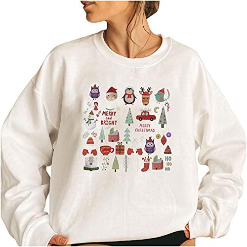Wave166 Jersey de mujer monocolor, elegante, de Navidad, lindo estampado gráfico, camiseta de manga larga para carnaval o fiestas, 1 blanco., XXXL