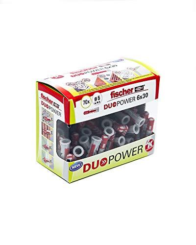 fischer Taco DuoPower 6x30 (Caja de 70 Ud.), 536386, Gris+Rojo