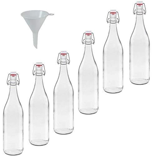 mikken 6X Glasflasche 1 Liter mit Bügelverschluss aus Porzellan inkl Trichter