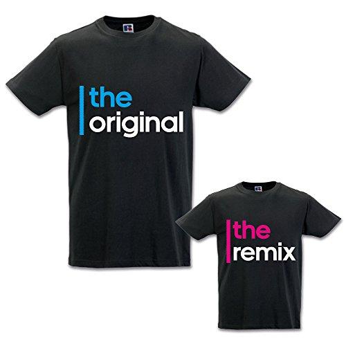 Babloo Coppia di T-Shirt Magliette Papa' E Figlio/Figlia Idea Regalo Festa del Papa' The Original The Remix Nere Uomo M - Bimbo 1-2 Anni Femminuccia
