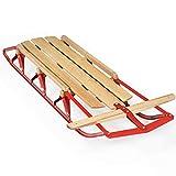 Snowboard slitte Design sterzo Flessibile for Bambini in Legno Slitta Neve w/Metal Runners & sterzo Bar Slitta (Colore : Red+Burlywood, Size : OneSize)