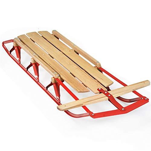 QinWenYan Trineos de Nieve Diseño de la dirección Flexible de los trineos de Snowboard for niños con Trineo de Nieve de Madera con Corredores de Metal y Barra de dirección Deportes de Invierno